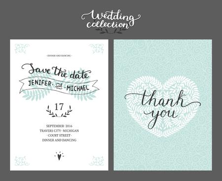La tarjeta de fecha, invitación de la boda con las letras y las ramas dibujado a mano. plantilla de la boda vector Foto de archivo - 50991869