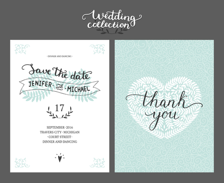 Save the date card, wedding invitation with hand drawn lettering and branches. Vector wedding template Illustration
