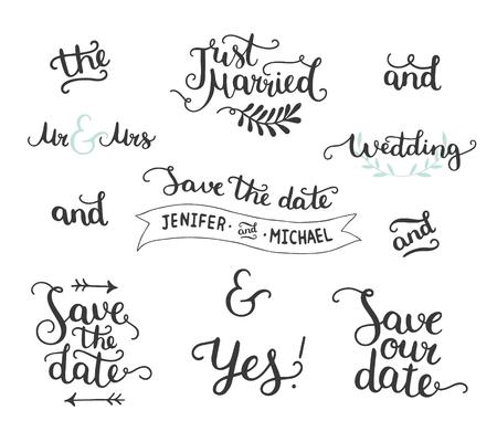 Guardar la fecha de recogida de dibujado a mano con letras, símbolos de unión y consignas. Vector fijado para las invitaciones de la boda del diseño, superposiciones de fotos y las tarjetas de fecha Ilustración de vector