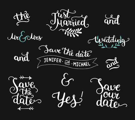 the date: Save the date collection with hand drawn lettering, ampersands and catchwords. Vector set for design wedding invitations, photo overlays and save the date cards