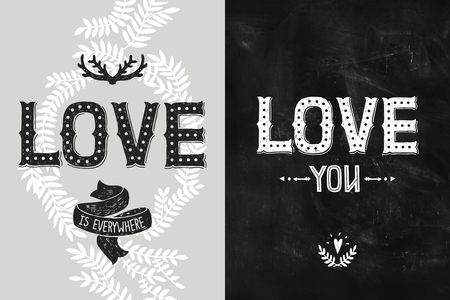 love letters: Happy Valentines day backgrounds, romantic cards. Vector Wedding and love posters with hand drawn letters, antlers and arrow, hipster style Illustration
