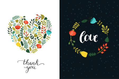 Happy Valentines day backgrounds, romantic cards. Vector Wedding and love posters with hand drawn letters and cute flowers Ilustrace