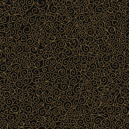 frizzy: Christmas background with curly ornament, gold and black, winter seamless pattern for design cards, banners, decorations