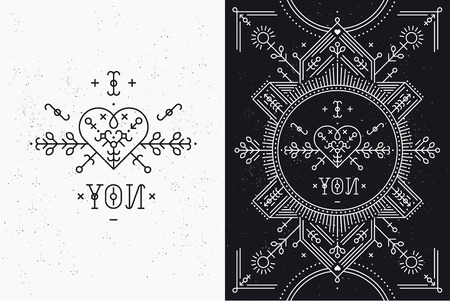 tribal: Love card with line romantic and abstract elements. Vector lines, heart, typography on black background with grunge texture. Hipster style