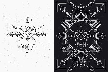 tribales: Tarjeta de amor con la línea romántica y elementos abstractos. Líneas vectoriales, corazón, tipografía sobre fondo negro con textura grunge. Estilo inconformista