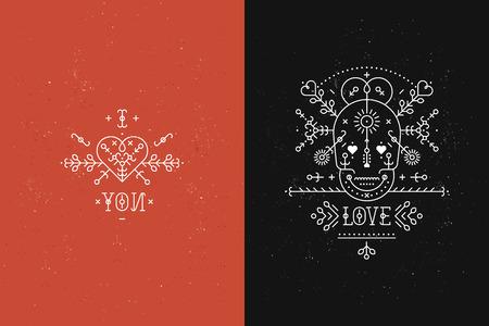 Set of Love Karten mit Linie romantischen und abstrakten Elementen. Vektorlinien, Schädel, Herz, Schrift auf schwarzem und rotem Hintergrund mit Grunge-Textur. Hipster-Stil