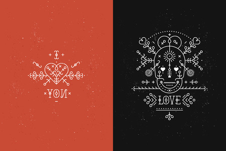 Set of Love cards with line romantic and abstract elements. Vector lines, skull, heart, font on black and red backgrounds with grunge texture. Hipster style