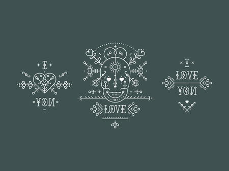 skull vector: Vintage love elements with line romantic and abstract shapes. Vector lines, heart, skull,  typography on gray background. Hipster style