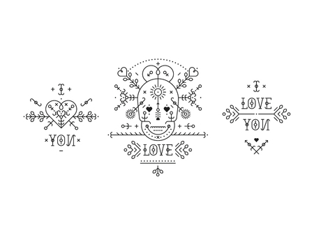 Vintage love elements with line romantic and abstract shapes. Vector lines, heart, skull,  typography on white background. Hipster style