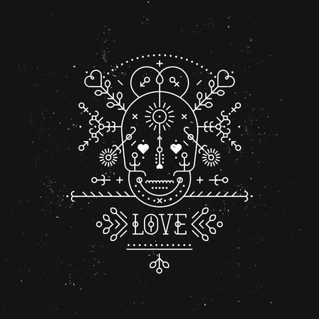 day valentine's day: Love card with line romantic and abstract elements. Vector lines, skull, heart, font on black background with grunge texture. Hipster style