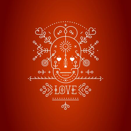 skull vector: Love card with line romantic elements. Vector lines, skull, heart, font on red backgrounds