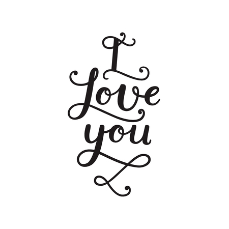 typography signature: I love you. Valentines day card with handdrawn lettering on white background. Vector photo overlays