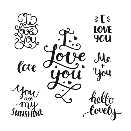 overlays: Vector photo overlays, handdrawn lettering collection, love and romantic quote. Hello lovely, I love you, you are my sunshine, Me and you and more on white background