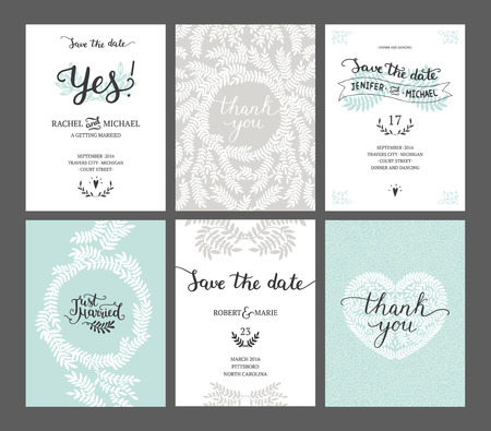 Set of Save the date cards, wedding invitations with handdrawn lettering, heart and branches. Vector wedding template