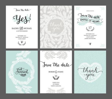 Set van Save the date kaarten, huwelijksuitnodigingen met handgetekende belettering, hart en takken. Vector huwelijkssjabloon