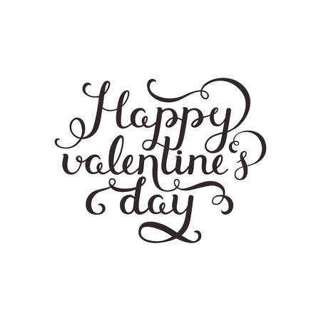 valentin day: Happy valentines day. Valentin day card with handdrawn lettering on white background. Vector romantic card