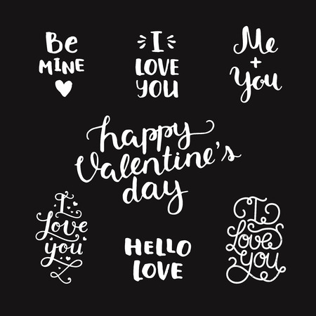 be: Vector Valentines day photo overlays, handdrawn lettering collection, love and romantic phrase. Be mine, I love you, me and you, Happy valentines day, hello love on black background Illustration