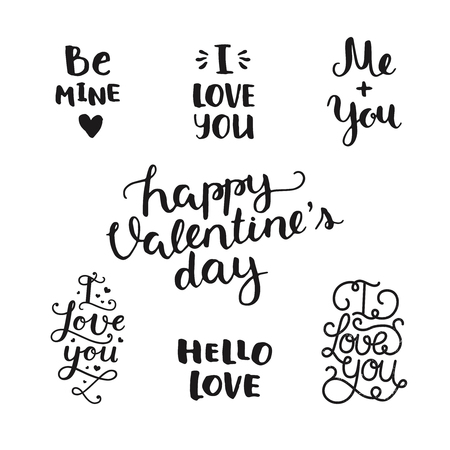 overlays: Vector Valentines day photo overlays, handdrawn lettering collection, love and romantic phrase. Be mine, I love you, me and you, Happy valentines day, hello love on white background