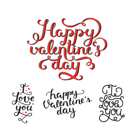 overlays: Vector Valentines day photo overlays, handdrawn lettering collection, love and romantic phrase. Happy valentines day, I love you on white background Illustration