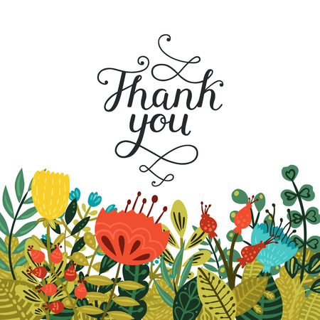 handwritten: Thank you card with handdrawn lettering and cute flowers isolated on white background. Vector calligraphic card Illustration