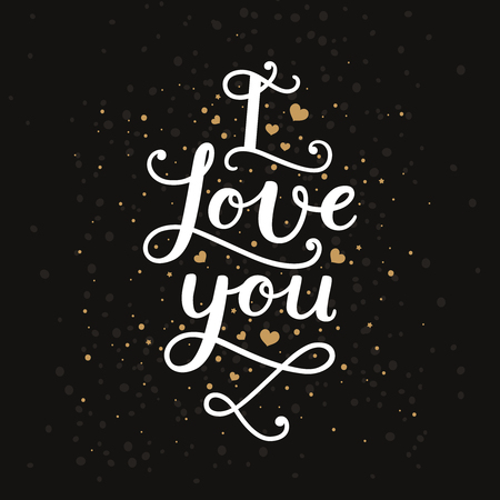 heart background: I love you. Valentines day card with handdrawn lettering, gold hearts on black background. Vector romantic card Illustration