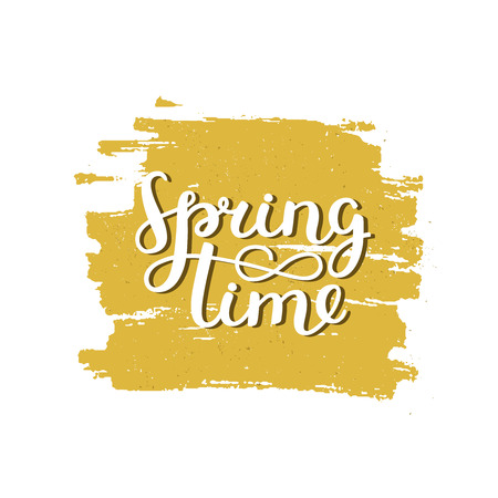 yellow paint: Vector lettering Spring time on brush stroke with grunge texture. Spring sign on yellow paint stain