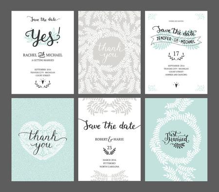 tarjeta de invitacion: Conjunto de las tarjetas de fecha, invitaciones de boda con letras dibujado a mano, el coraz�n y las ramas. plantilla de la boda vector