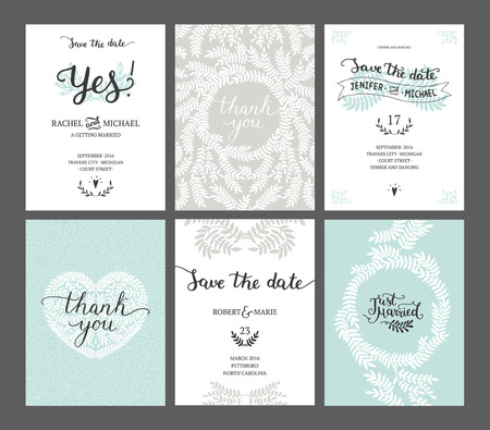 Set of Save the date cards, wedding invitations with handdrawn lettering, heart and branches. Vector wedding template Reklamní fotografie - 51082347