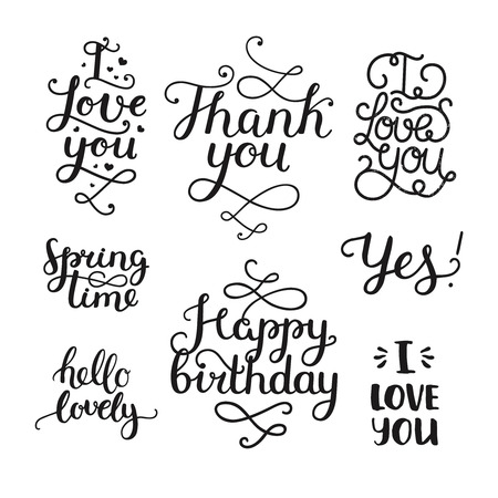 overlays: Vector photo overlays, handdrawn lettering collection, love and romantic quote. I love you, Thank you, Spring time, Happy birthday, hello lovely. For scrapbook, greeting cards and more Illustration