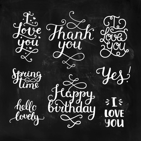 thanks you: Vector photo overlays, handdrawn lettering collection, love and romantic quote. I love you, Thank you, Spring time, Happy birthday, hello lovely. For scrapbook, greeting cards and more Illustration