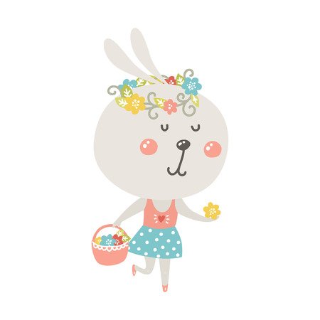 cute rabbit: Cute rabbit with basket and flowers on white background. Vector bunny, baby animal