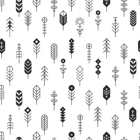 Het vectorpatroon met lijnveren en pijlen, vat geometrische elementen, etnische inzameling, Azteekse pictogrammen, stammenachtergrond samen