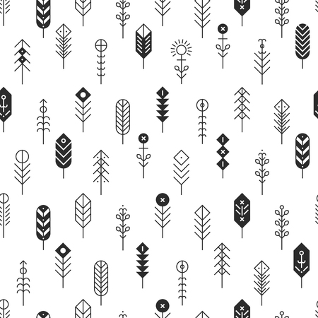 Vector pattern with line feathers and arrows, abstract geometric elements, ethnic collection, aztec icons, tribal background