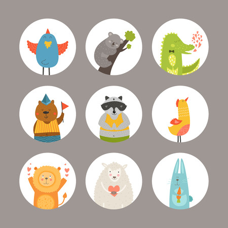 koala: Set of Cartoon animals, cute baby animals. Vector animal