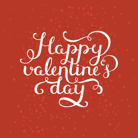 valentin day: Happy valentines day. Valentin day card with handdrawn lettering on red background. Vector romantic card