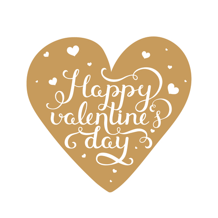 valentin day: Happy valentines day. Valentin day card with handdrawn lettering on gold heart. Vector romantic card Illustration