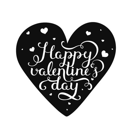 valentin day: Happy valentines day. Valentin day card with handdrawn lettering on black heart. Vector romantic card