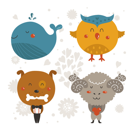 cute dog: Set of Cartoon animals, cute baby animal. Vector whale, owl, dog and merinos isolated on white background. For design greeting cards, prints, scrapbook, shirt, logo and more