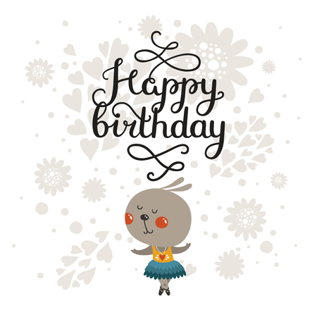 Happy Birthday Greeting Card With Cute Rabbit And Handdrawn