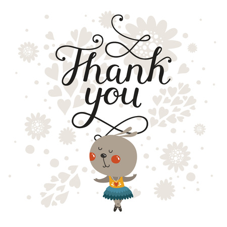 Thank you. Greeting card with cute rabbit and handdrawn lettering, cartoon animal, cute baby animal. For design greeting cards, prints, scrapbook, shirt, logo and more 矢量图像