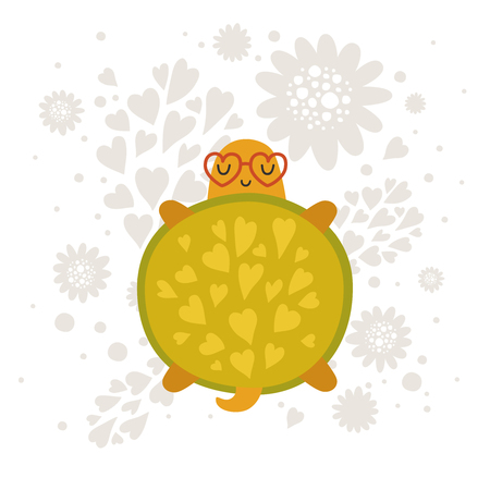 turtles love: Cartoon animal, cute baby animal. Vector turtle isolated on white background. For design greeting cards, prints, scrapbook, shirt, logo and more Illustration