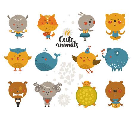 fox cartoon: Set of Cartoon animals, cute baby animal in love. Vector fox, rabbit, cat, merinos, bird isolated on white background. Illustration