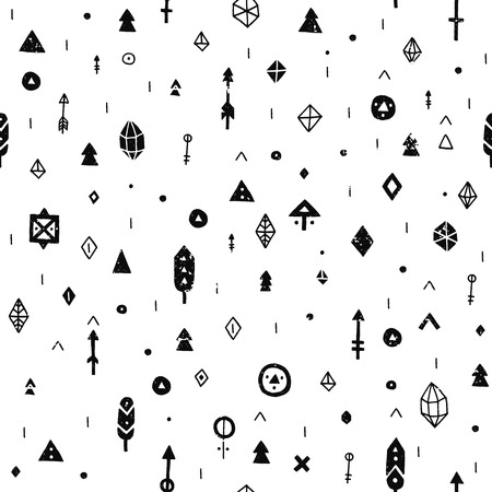 symbol decorative: Hand drawn tribal background with arrow, feathers and geometric symbols ethnic, aztec style. Tribal pattern