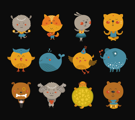 children turtle: Set of Cartoon animals, cute baby animal in love. Vector fox, rabbit, cat, merinos, bird, elephant, owl and sheep on black background.