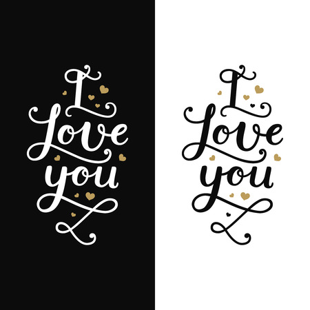 overlays: I love you. Love card with lettering and gold hearts on white and black background. Romantic typography overlays for design greeting cards, posters, invitations and more Illustration