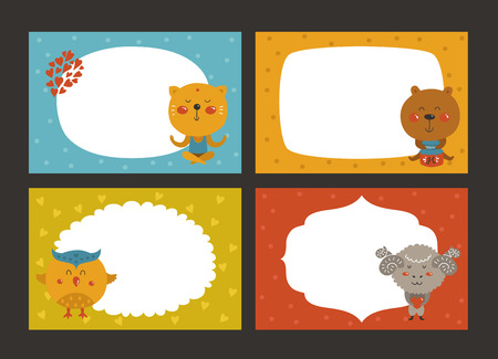 animaux zoo: Set of cartoon animal borders, zoo frame with cat, bear, owl and merinos. Cute baby animals in love, kids frame, template for baby photo