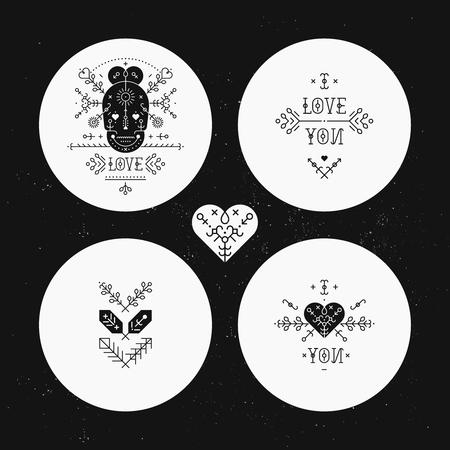 Set Love-Karte Mit Linie Romantischen Und Abstrakten Elementen ...