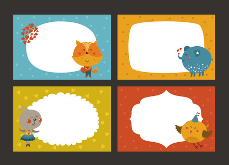 animal border: Set of cartoon animal borders, zoo frame with fox, elephant, rabbit and bird. Cute baby animals in love, kids frame, template for baby photo