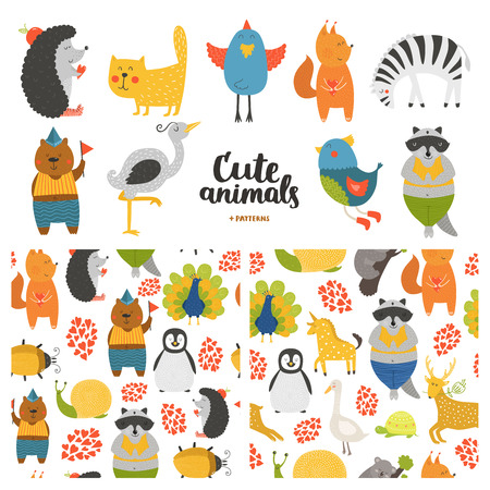 isolated squirrel: Cartoon animals collection and seamless patterns.  Vector cute cat, bear, bird, raccoon, hedgehog,  heron, zebra, squirrel isolated on white background, baby animals in love