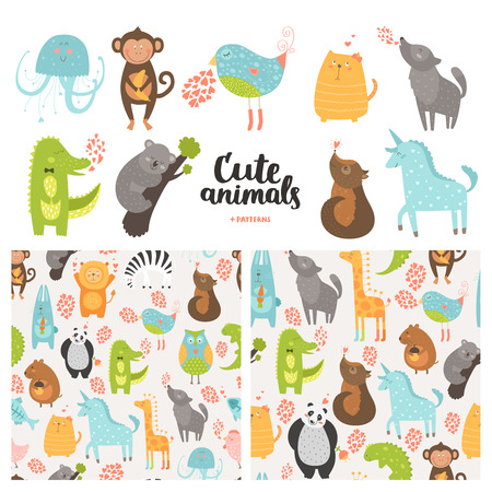 Cartoon animals collection and seamless patterns.  Vector cute monkey, bird, koala, jellyfish, cat, panda, crocodile, unicorn, wolf isolated on white background, baby animals in love